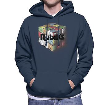 Rubik's Colourful Drawn Cube Men's Hooded Sweatshirt