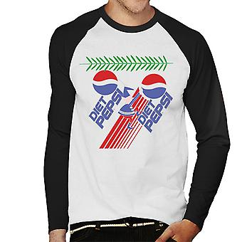 Pepsi Diet Retro Christmas Elf Men's Baseball Long Sleeved T-Shirt