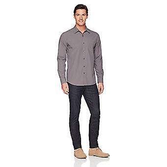 أساسيات الرجال & apos;ق العادية تناسب طويلة الأكمام الصلبة قميص البوبلين عارضة, gr ...