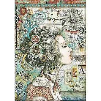 Stamperia Райс бумага A4 Леди с компасом