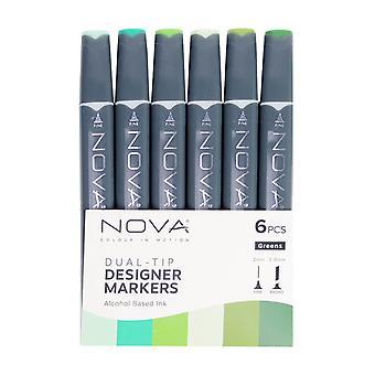 Trimcraft Nova Sketch Markers Greens (6pcs) (NOV003)