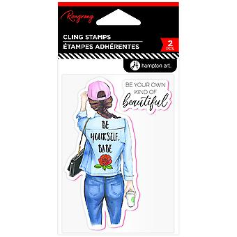 Hampton Art Be Yourself, Babe Rubber Stamps