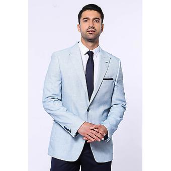 Patterned slim-fit sky blue blazer