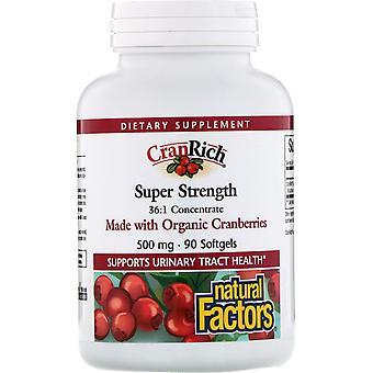 Natürliche Faktoren, CranRich, Super-Stärke, Cranberry-Konzentrat, 500 mg, 90 Sof