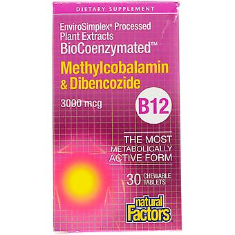Fattori naturali, BioCoenzymated, B12, Methylcobalamin & Dibencozide, 3.000 mcg,