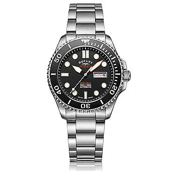 Rotary Super 7 SCUBA Automatic Black Dial Silver Stainless Steel Bracelet Men's Dive Watch S7S001B