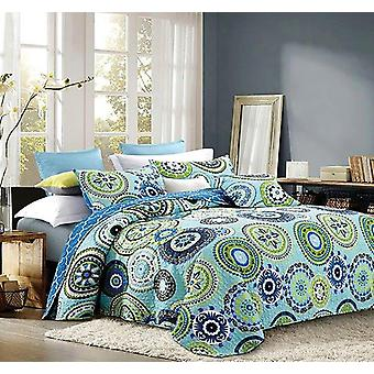 2PC Silk Road Printed King/Queen Size Polyester Quilt Set With 2 Shams
