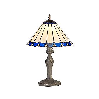 1 Light Curved Table Lamp E27 With 30cm Tiffany Shade, Blue, Crystal, Aged Antique Brass