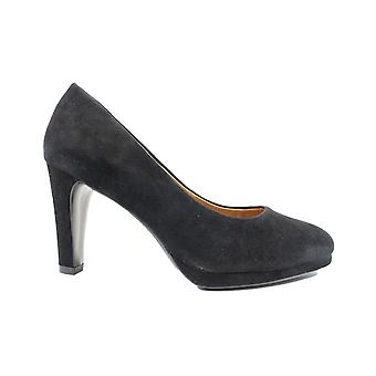 Capricho 22402 Black Suede Couro Mulheres Slip On Heeled Court Shoes