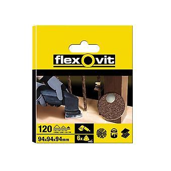 Flexovit Delta Hook & Loop Sanding Sheets 94mm Fine 120g (Pack of 6) FLV26401