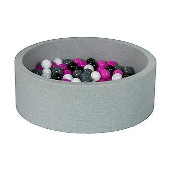 Poço de bola 90 cm com 200 bolas pretas, brancas, roxas e cinza