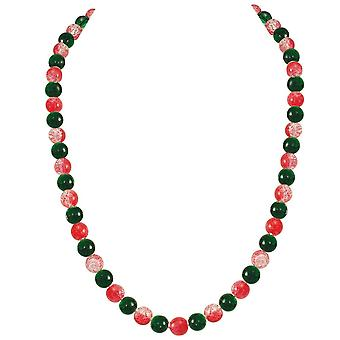 Eternal Collection Carnival Red And Green Czech Glass Crackle Bead Silver Tone Long Necklace
