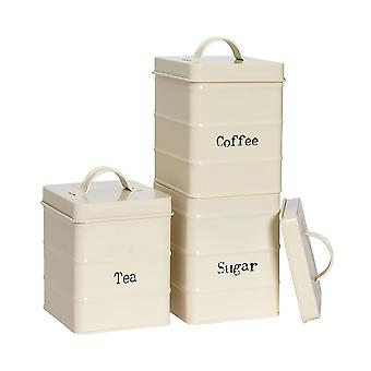 3 Peça Industrial Tea Coffee Coffee Sugar Canister Set - Vintage Style Steel Kitchen Storage - Cream