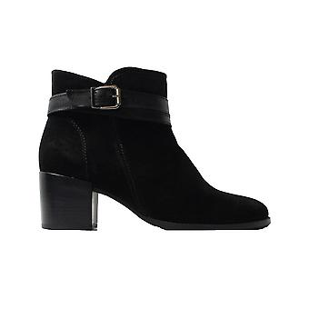 Tamaris 25059 Black Suede Leather Womens Heeled Ankle Boots