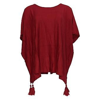 Belle by Kim Gravel Women's Sweater Poncho w/ Tassels Red A309984