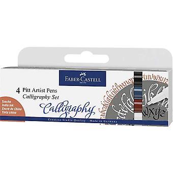 Faber Castell 4 Pitt Artist Pens Calligraphy Classic Set