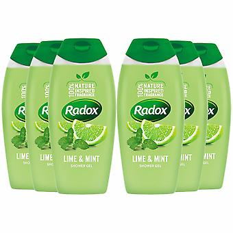 Radox 100% Nature Inspired Fragrance Shower Gel, Lime & Mint, 6 Pack, 400ml