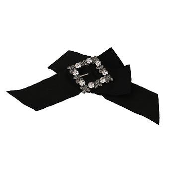 Black Cotton Bow Clear Crystal Gray Flower Hair Clip