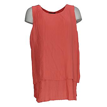 DG2 by Diane Gilman Women's Top Coral Red Blouse Pleats Sleeveless 722-000
