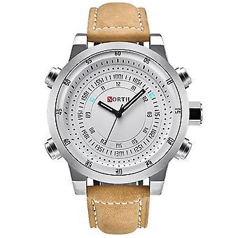 NORTH N-7716 Impermeável Luminoso Display Casual Estilo Homens Relógio de Pulso Couro