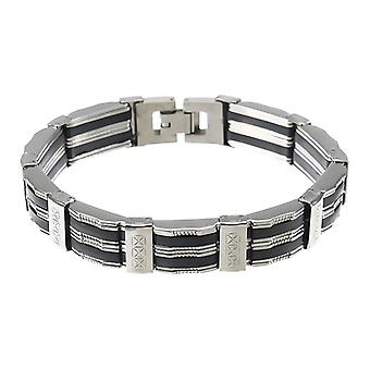 Punk Black Silicone Silver Stainless Steel Chain Wristband Bracelet for Men