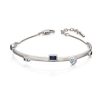 Fiorelli Silver Womens 925 Sterling Silver Blå Cubic Zirconia Strukturerat armband med 4cm Extender
