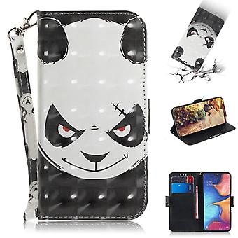 3D Colored Drawing Angry Bear Pattern Horizontal Flip Leather Case for Galaxy A20e, with Holder & Card Slots & Wallet