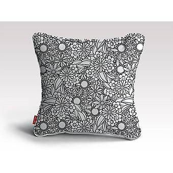 Floral -bw -mandala pattern -04 poster cushion/pillow