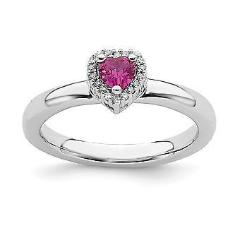 925 Sterling Sølv poleret Prong sæt Rhodium belagt stabelbare udtryk Cr. Ruby Love Heart Diamond Ring smykker Gif