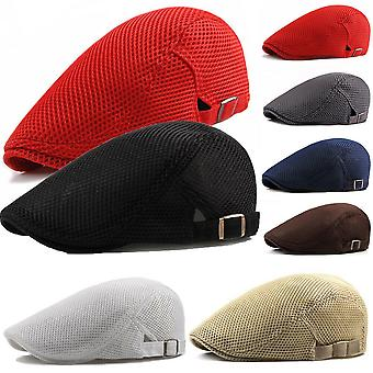 Fashion Men Women Flat Cap Mesh Summer Golf Driving Sun Beret Cabbie Hat