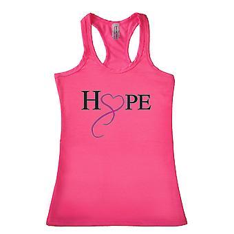 Frauen's Hoffnung & Liebe Brust Krebs Bewusstsein Racerback Tank Top