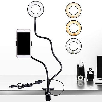 Phone Holder 3 Modes Ring Light Photography Lighting With Fill Light For Live