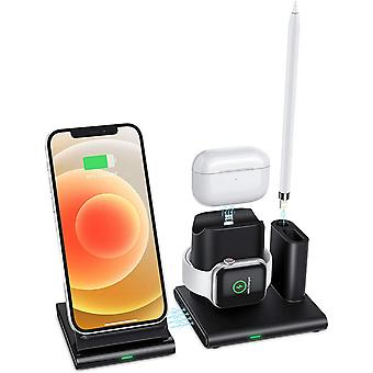 OMOTON 4 in 1 Wireless Charger, Compatible with Apple Watch AirPods Pencil Charging Dock Station