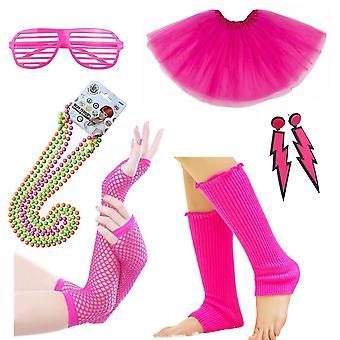 80S maškarní kostýmní doplňky nastavit neon pro dospělé tutu, ohřívače nohou, rybářské růžové rukavice, fluorescenční