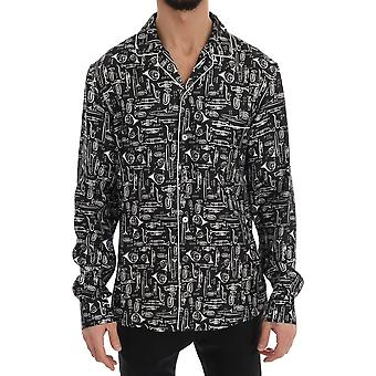 Dolce & Gabbana Black Silk Jazz Instuments Motive Print Casual Shirt