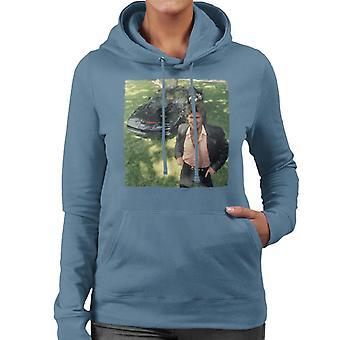 Knight Rider Michael Knight Smiling With KITT Women's Hooded Sweatshirt