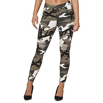 Womens Skinny Stretch Jeans Destroyed Fringe Pants Camouflage Pattern Trousers