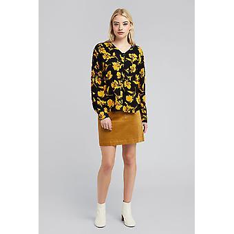 Ichi Ihbloom Bloemen Patroon Shirt Zwart