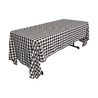 La Linen Polyester Gingham Checkered 60 Por 126 pulgadas mantel rectangular, blanco y negro