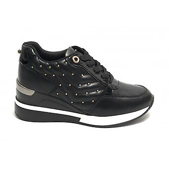 Women's Sneaker Running With Wedge Gold&gold Black Faux Leather D20gg27