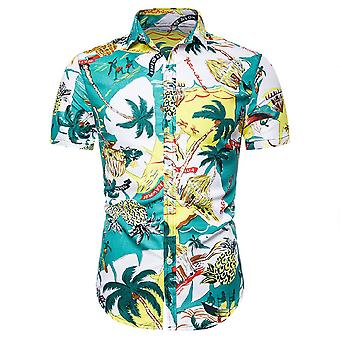 Allthemen Men's Hawaiian Beach Print Slim Short Sleeve Shirt