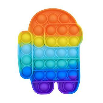 Material Certificado® Pop It - Fidget Anti Stress Toy Toy Toy Toy Silicone Masculino Arco-íris