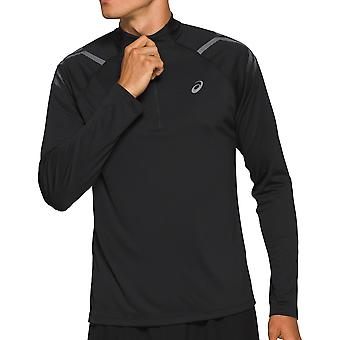 Asics أيقونة طويلة كم 1/2 الرمز البريدي رجال تشغيل اللياقة البدنية قميص الأعلى الأسود