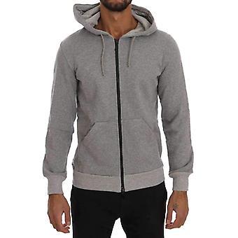 Daniele Alessandrini Gray Full Zipper Hodded Cotton Sweater