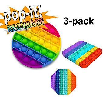 3-pack Pop It Fidget Toy Original - Regnbåge - CE Godkända