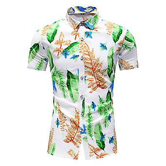 Yunyun Men's Botanical Print Hawaiian Pointed Collar Short Sleeve Vogue Shirt