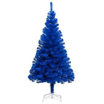 vidaXL شجرة عيد الميلاد الاصطناعي مع موقف الأزرق 210 سم PVC