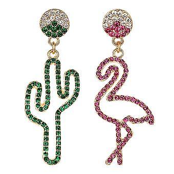 Pendientes frescos con 1 flamenco y 1 cactus