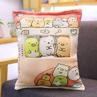 8pcs/pack Snack Budding Cartoon Animal Udstoppet Creative Doll Sofa Pillow