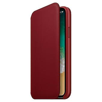 Official Apple iPhone X Leather Folio Case Flip Cover - Red